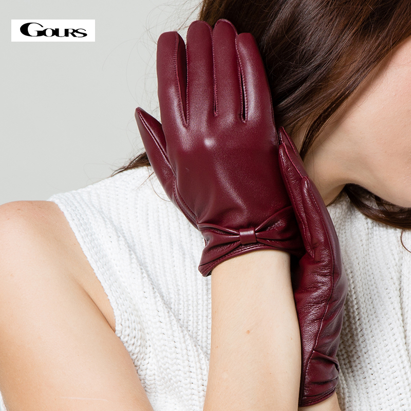 Gours Winter Genuine Leather Gloves For Women Ladies Black Fashion Brand Goatskin Touch Screen Gloves New Arrival GSL002