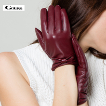 Genuine leather gloves womens short design autumn and winter thermal looply plus velvet bow thin suede