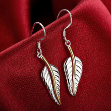 Brand 925 Sterling Silver Leaves Leaf Big Drop Earrings For Women Fashion Lady Prevent Allergy Jewelry 100% 925 sterling silver fashion butterfly ladies tassels stud earrings jewelry women anti allergy christmas gift drop shipping