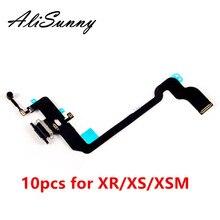 AliSunny 10 قطعة شحن ميناء الكابلات المرنة آيفون XR XS XSM USB حوض موصل شاحن ميكروفون إصلاح أجزاء