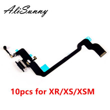 AliSunny 10 шт. зарядный порт гибкий кабель для iPhone XR XS XSM USB док станция зарядное устройство микрофон запасные части