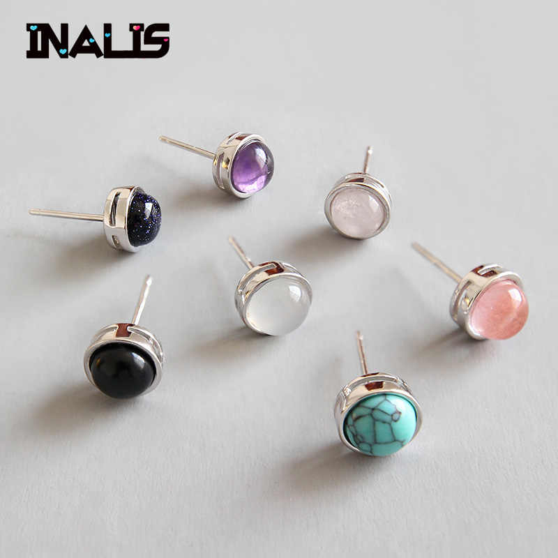 INALIS Hot Sale Stud Earrings 925 Sterling Silver Fine Natural Multi Agate Turquoise Amethyst Blue Sandstone Brincos for Women