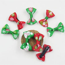 2PCS/LOT Candy Christmas Small Bow Hairpin For Girl Hair Tie Child Elastic Hair Bands Scrunchy Clips Hair Accessories For Kids(China)