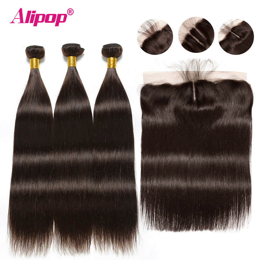 Lace Frontal With Bundles Colored Brown Bundles With Closure Brazilian Human Hair Straight Bundles With Frontal
