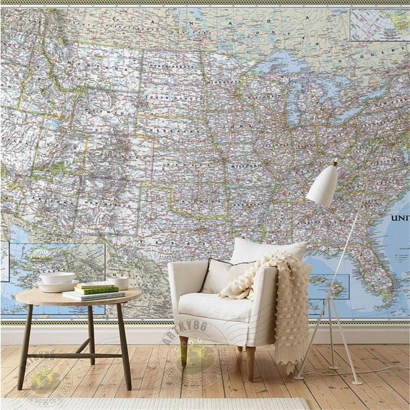 3d room wallpaper custom photo mural sofa TV background map United States painting bedding non-woven sticker wallpaper for wall