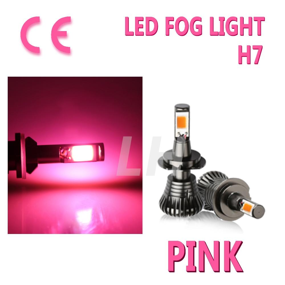 New Car H7 LED 80W 8000LM CanbusFlash Fog Light Bulbs Driving DRL Pink Error Free Strobe