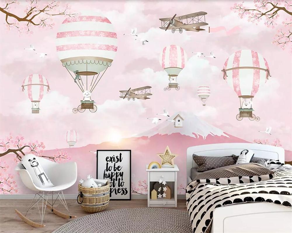 US $9.45 37% OFF|Beibehang Modern minimalist TV background wallpaper  cartoon hot air balloon pink living room bedroom background 3d wallpaper  -in ...