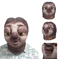 Famous Cartoon Movie Sloth Mask Latex Full Head Animals Cute Sloth Halloween Party Cosplay Prop