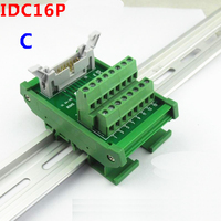 IDC16P male socket to 16P terminal block breakout board adapter Relay terminal station DIN Rail Type