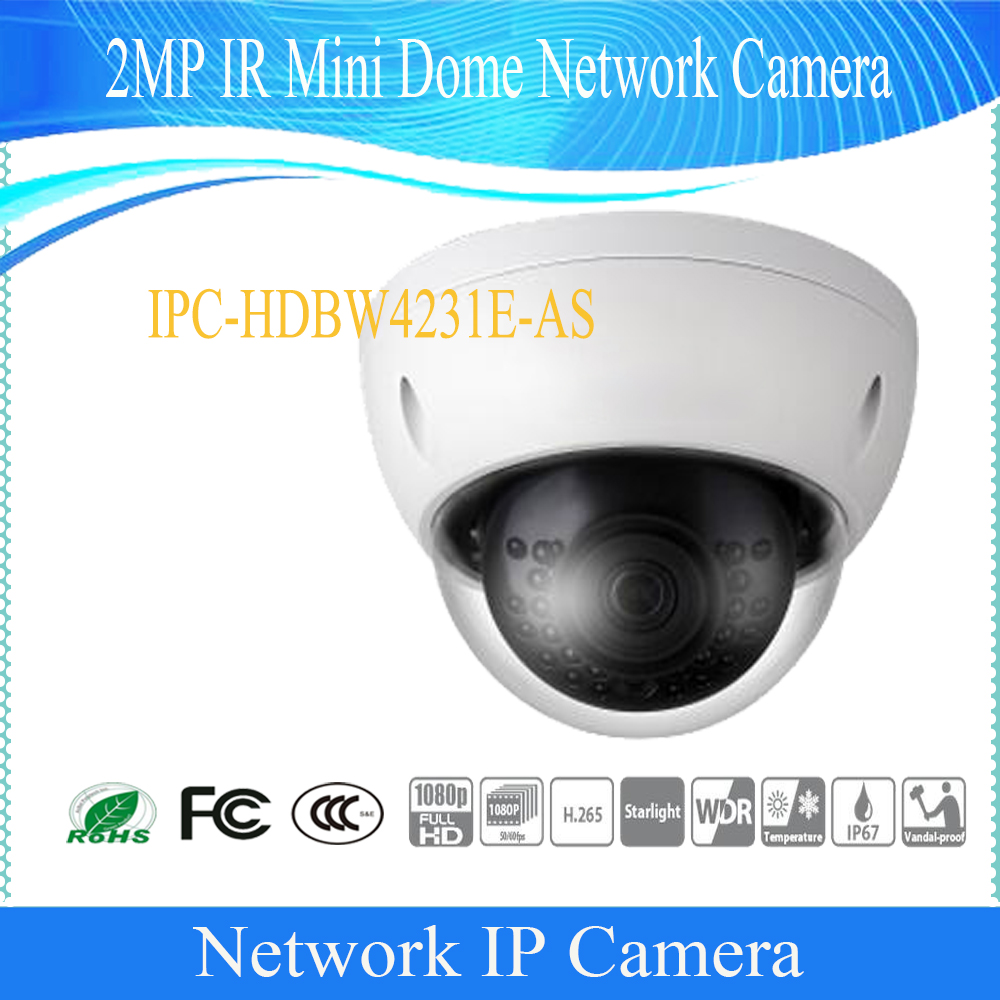 Free Shipping DAHUA Security IP Camera 2MP IR Mini Dome Network Camera IP67 IK10 with PoE Without Logo IPC-HDBW4231E-AS free shipping dh security ip camera 2mp 1080p ir mini dome network camera ip67 ik10 with poe without logo ipc hdbw4231f as