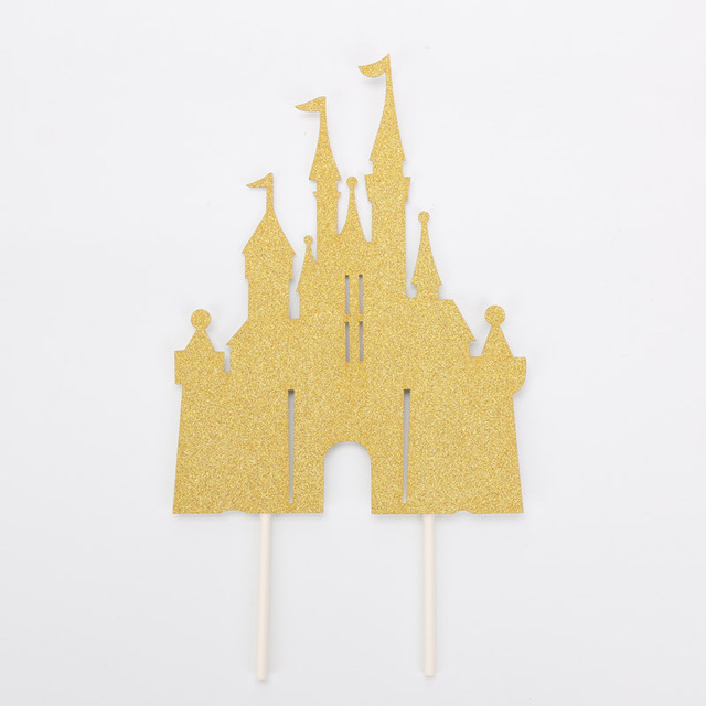 glitter gold silver blue pink princess castle cake toppers boys girls happy birthday cake decoration for