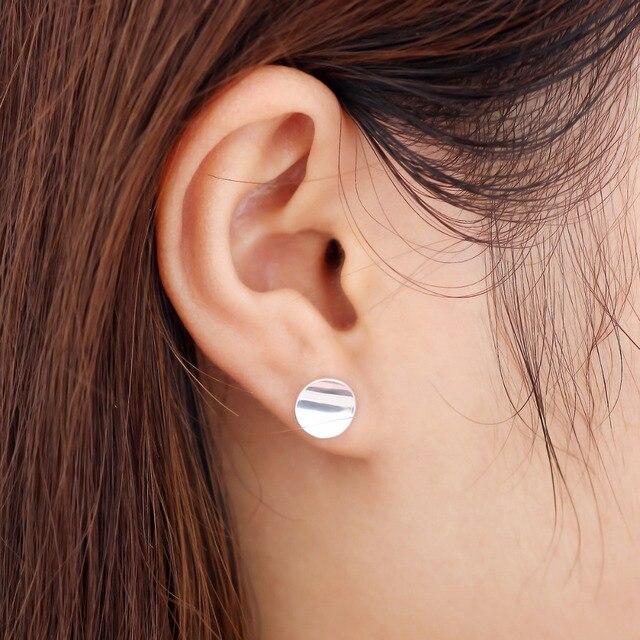 Shiny Geometric Round Stud Earrings 5