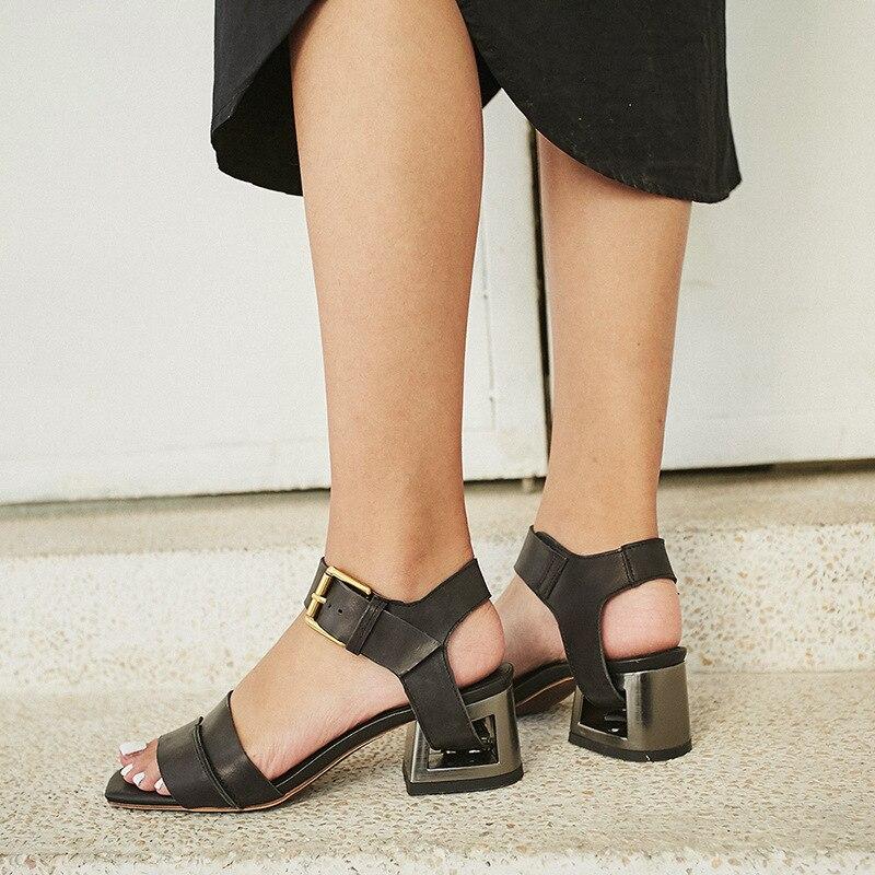 Style Ouvert Nouveau D'été Sandale noir En Cm Étrange Bout Porter Deux 5 Sandales À Boucle Beige Talon Cuir Dame Façons Stylesowner Véritable Chaussures R5WdqR