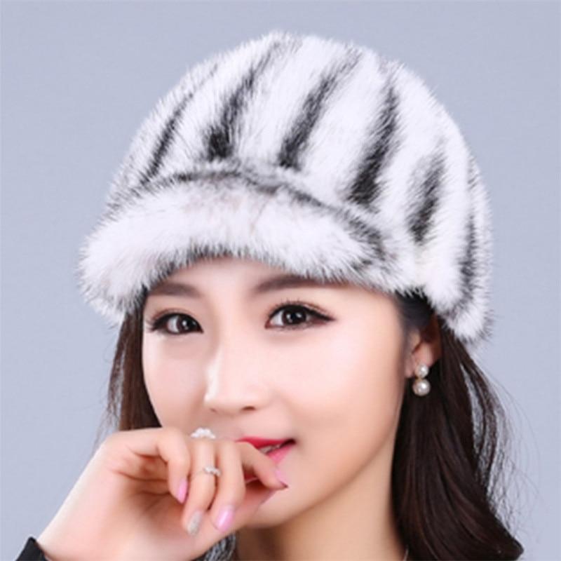 ФОТО 10 colors real mink fur caps hats for women weave soft striped casual warm winter cap hat female beanies