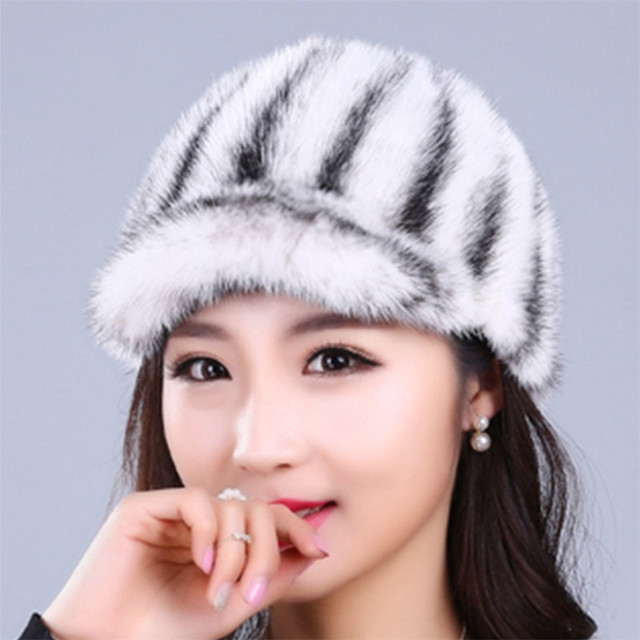 10 colors real mink fur caps hats for women weave soft striped casual warm winter cap hat female beanies