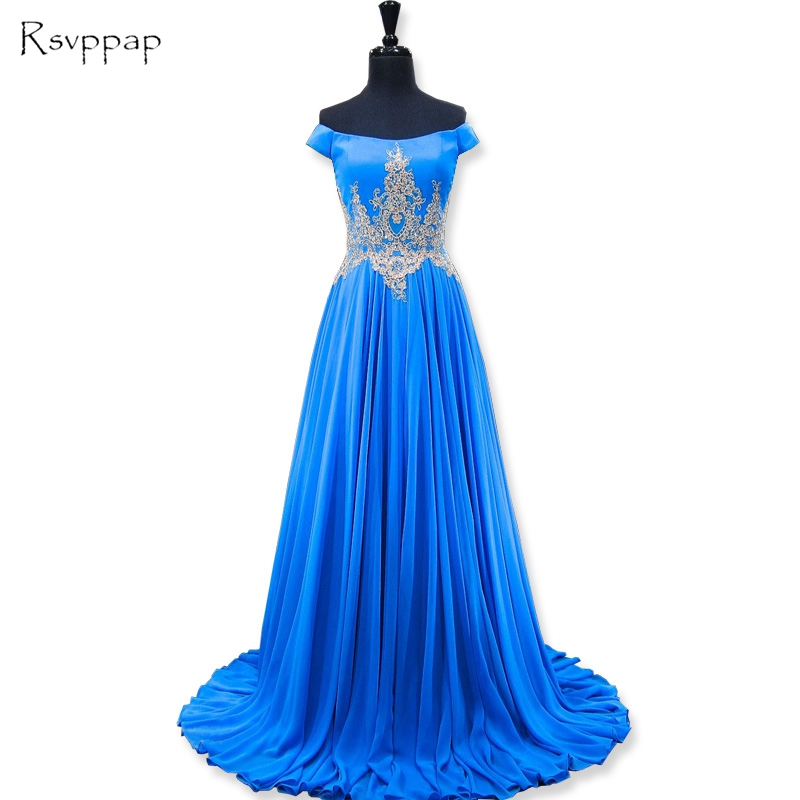 Long Elegant   Prom     Dresses   2019 New Arrival Cap Sleeve Gold Beaded Lace Floor Length African Party Blue Chiffon   Prom     Dress