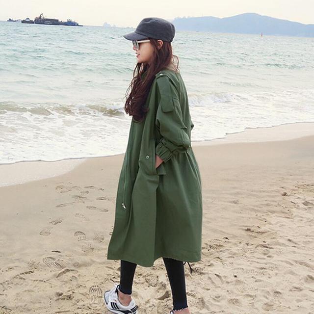 2017 Primavera Nova Moda Projeta casaco Verde Do Exército Das Mulheres Trench Coat casual solta outwear S336