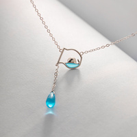 Parmalambe Silver Pendant Necklaces With Water Drop Petite Crystal Link Chain Clavicle Choker For Women Necklace Gift Jewelry