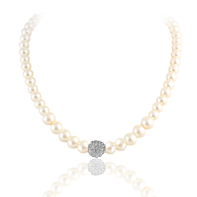 17KM 2016 Fashion  Bridal Jewelry Sets Simulated Pearl Wedding Earrings Crystal Necklace Party Beads Bracelet Accessories