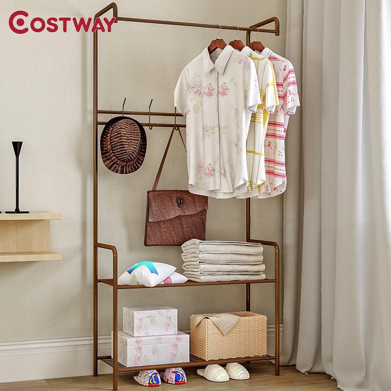 COSTWAY Clothes Hanger Coat Rack Floor Hanger Storage Wardrobe Clothing Drying Racks porte manteau kledingrek perchero
