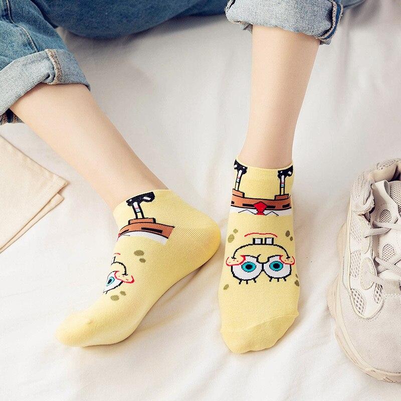 Dreamlikelin Funny SpongeBob Women Ankle   Socks   Cartoon Female Spring Summer Cotton Short Girls Cute   Socks