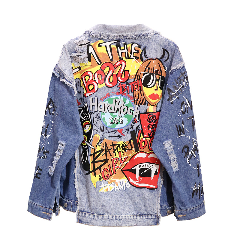 America Youth Lady Spring Autumn Street Wear Ripped Graffiti Blue Denim Jacket Cowgirl Loose Bomber Jacket Tops Coat New