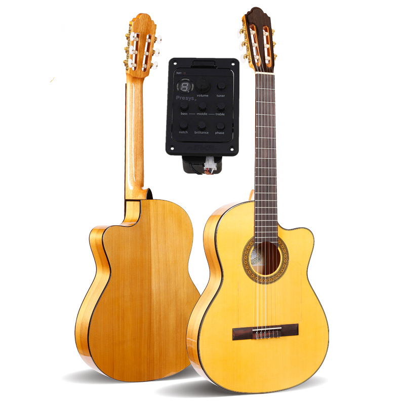 Guitarra Flamenca acústica eléctrica Cutaway profesional de 39 con cuerpo de abeto/Aguadze + cuerdas, guitarra clásica con pastilla