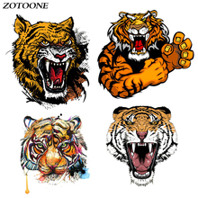 ZOTOONE Tiger Iron on Transfer Patches Stripes Clothing Diy Patch Heat for Clothes Decoration Stickers Accessories E