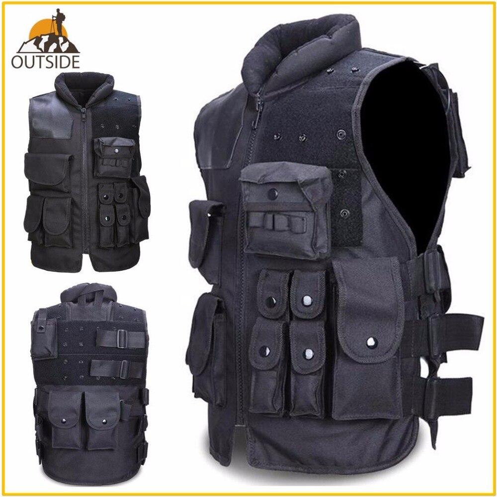 Alta calidad chaleco táctico negro militares para hombre Chaleco de caza en el campo de batalla Airsoft Molle Chaleco de combate asalto placa portador