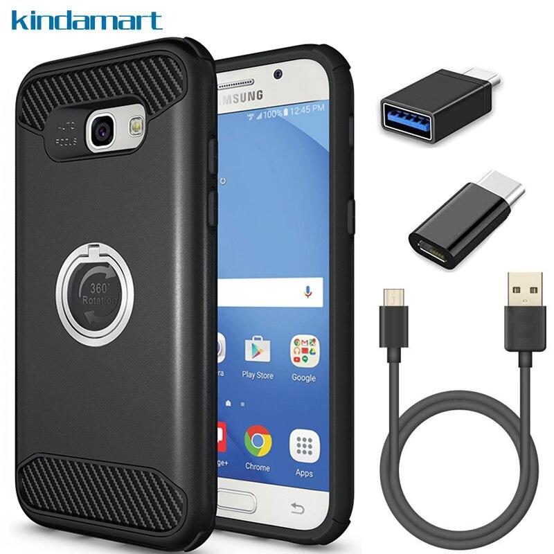 4in1 kit A5 2017 cas anneau grip titulaire USB C câble adaptateur double couverture choc protection cas pour Samsung Galaxy A5 2017 A520F