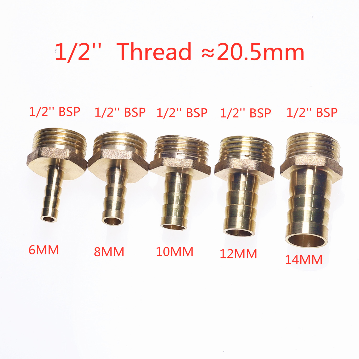 4mm 12mm Brass Pipe Fitting Hose Barb Tail 1 8 quot 1 4 quot 1 2 quot BSP Male Connector Joint Copper Pipe Coupler Adapter Gas Joint in Pipe Fittings from Home Improvement