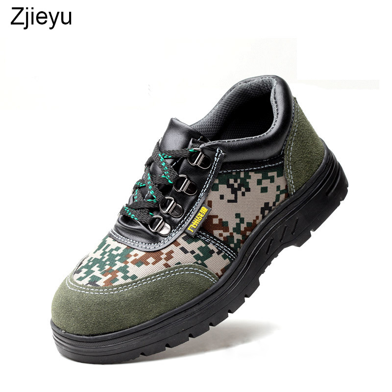 safety work shoes men camouflage safety boots men with steel toe and steel sole light and breathe freely men bots
