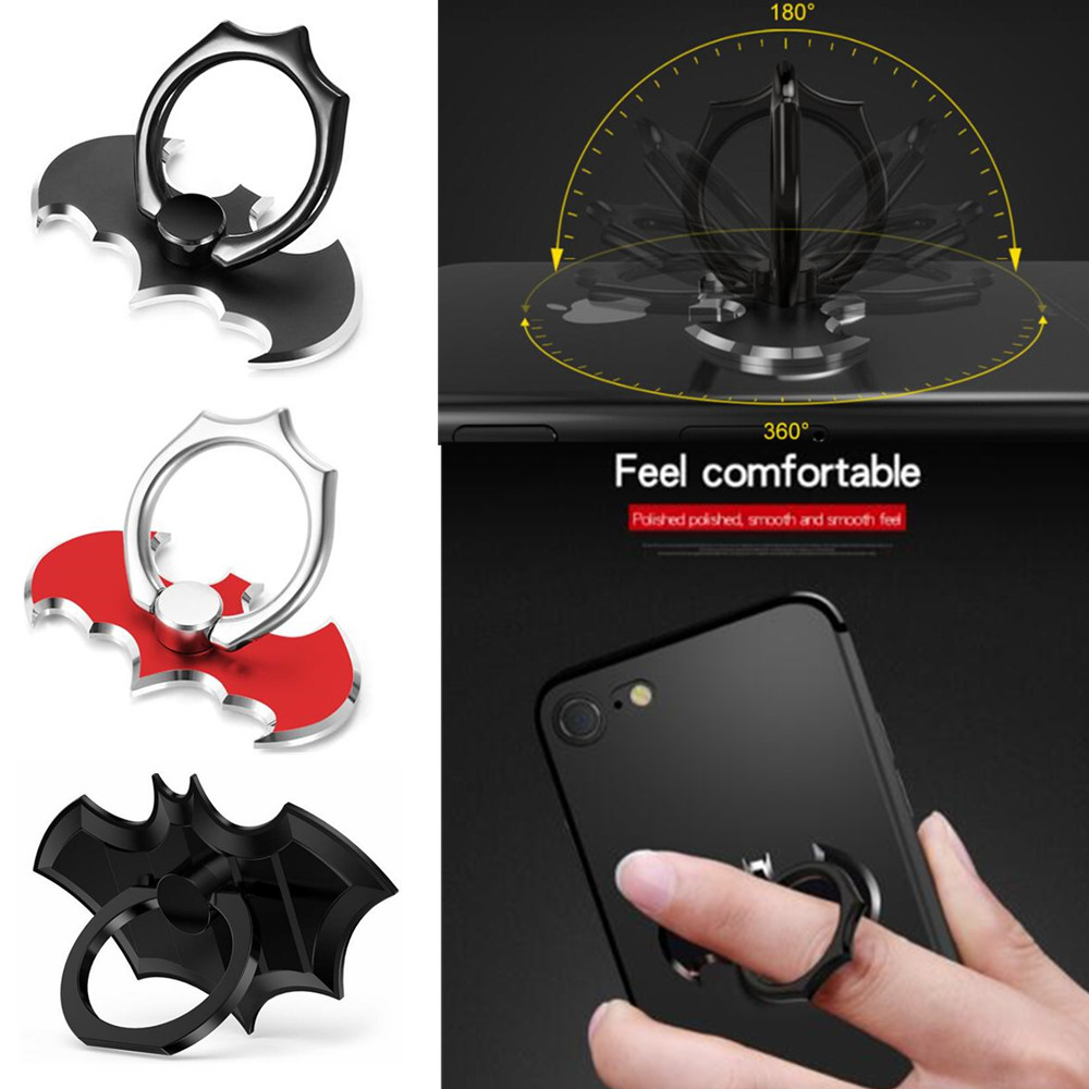 JUSFYU Universal Luxury Metal Aluminum Bat Finger Ring Smartphone phone ring 360 Rotating support smartphone car holder