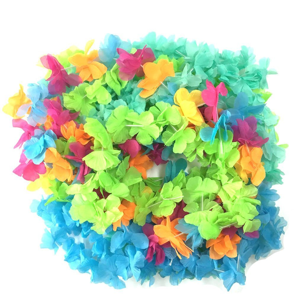 Hawaiian Colorful Luau Flower Leis Necklaces for Tropical Island Beach Theme Party Event,Set of 30