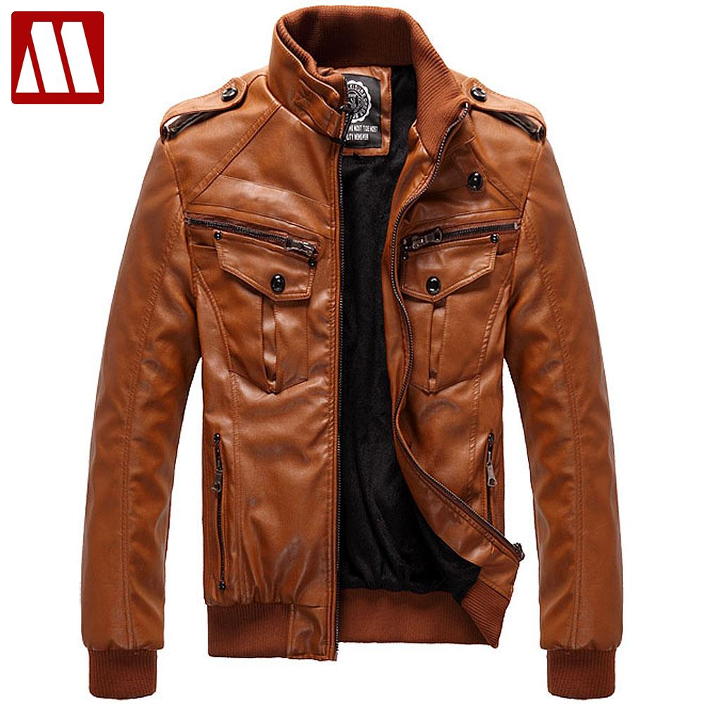 Autumn & winter fur liner leather jacket men's stand-collar slim fit short motorcycle jackets male leather coat FLM095 D086