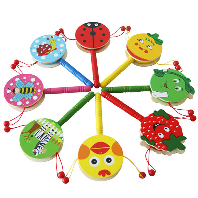 Orff Instruments Classic Toy Wood Rattle-drums Baby Music Toys Gift