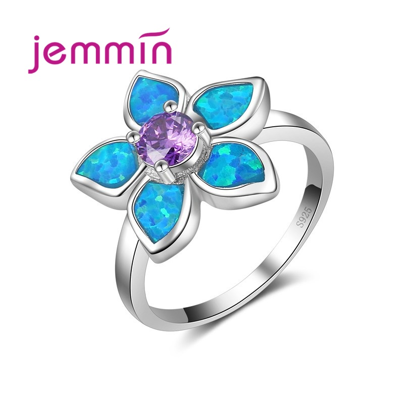 Luxury AAA Purple Crystal  925 Sterling Silver Silver Color Jewelry Ring With Blue Fire Opal Flower Shaped Rings For Women