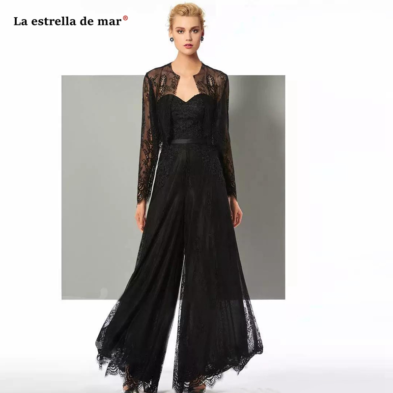 Chic Black Lace Jumpsuit Mother Of The Bride Pant Suits Sweetheart Neck Wedding Guest Gowns With Jackets Plus Size Mothers Groom