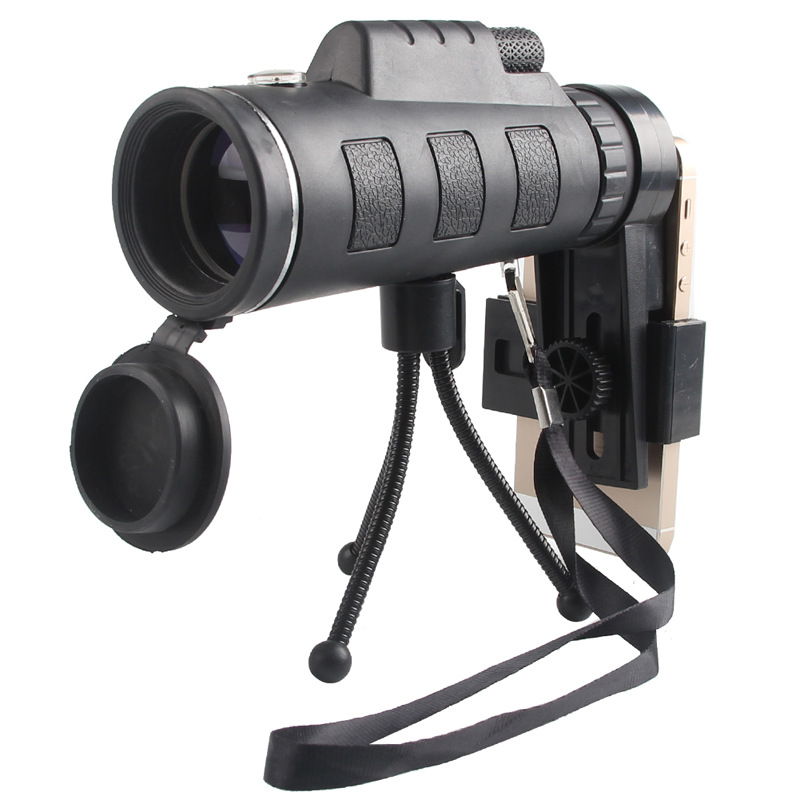 HD <font><b>40X60</b></font> <font><b>BAK4</b></font> Zoom Mini <font><b>Monocular</b></font> Telescope with Compass Phone Clip Military Power Hunting Optics Outdoor Spotting Binoculars image