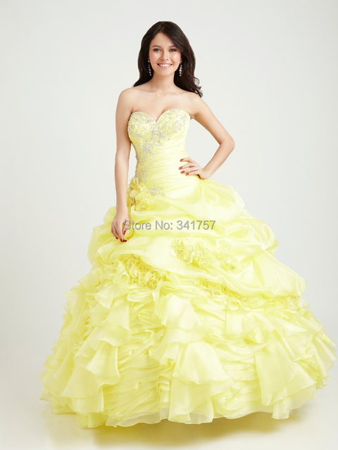 Lime Yellow Quinceanera Dresses Beading Debutante Gown Pleat Sweet 16 Dress Vestidos De 15 Anos Sweetheart