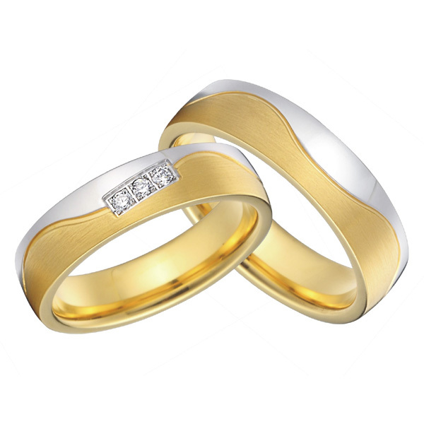 custom bridal pair alliance yellow gold color and silver color titanium wedding bands rings sets snubni prsteny