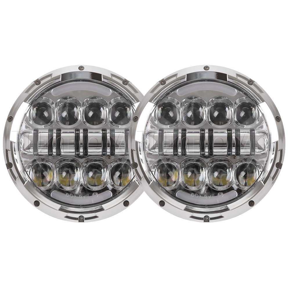New 7 Inch Round Chrome LED Projector Headlights with DRL for Jeep Wrangler