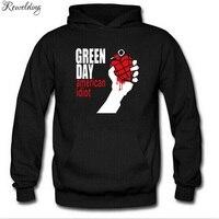 Autumn Winter Long Sleeve Fleece Hoodies Men GREEN DAY Printed Punk Rock Hip Hop Men Pullover