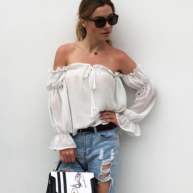 d814a76f89e Sexy Slash Neck Off Shoulder Top Chiffon Blouse Autumn Women Blouses 2018  Long Sleeve Lantern Sleeve Ruffles Short Tops White