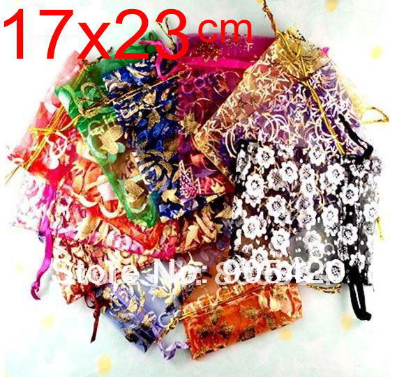OMH Wholesale 50pcs 17x23cm Love Flowers Rose Heart Christmas Wedding Voile Gift Bag Organza Jewlery Packing Gift Pouches BZ08