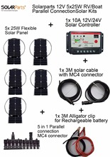 Solarparts 12V 5x25W DIY RVBoat Kits Solar System 25W flexible solar panel1x 10A solar controller 1 set 3M MC4 cable 1 set clip