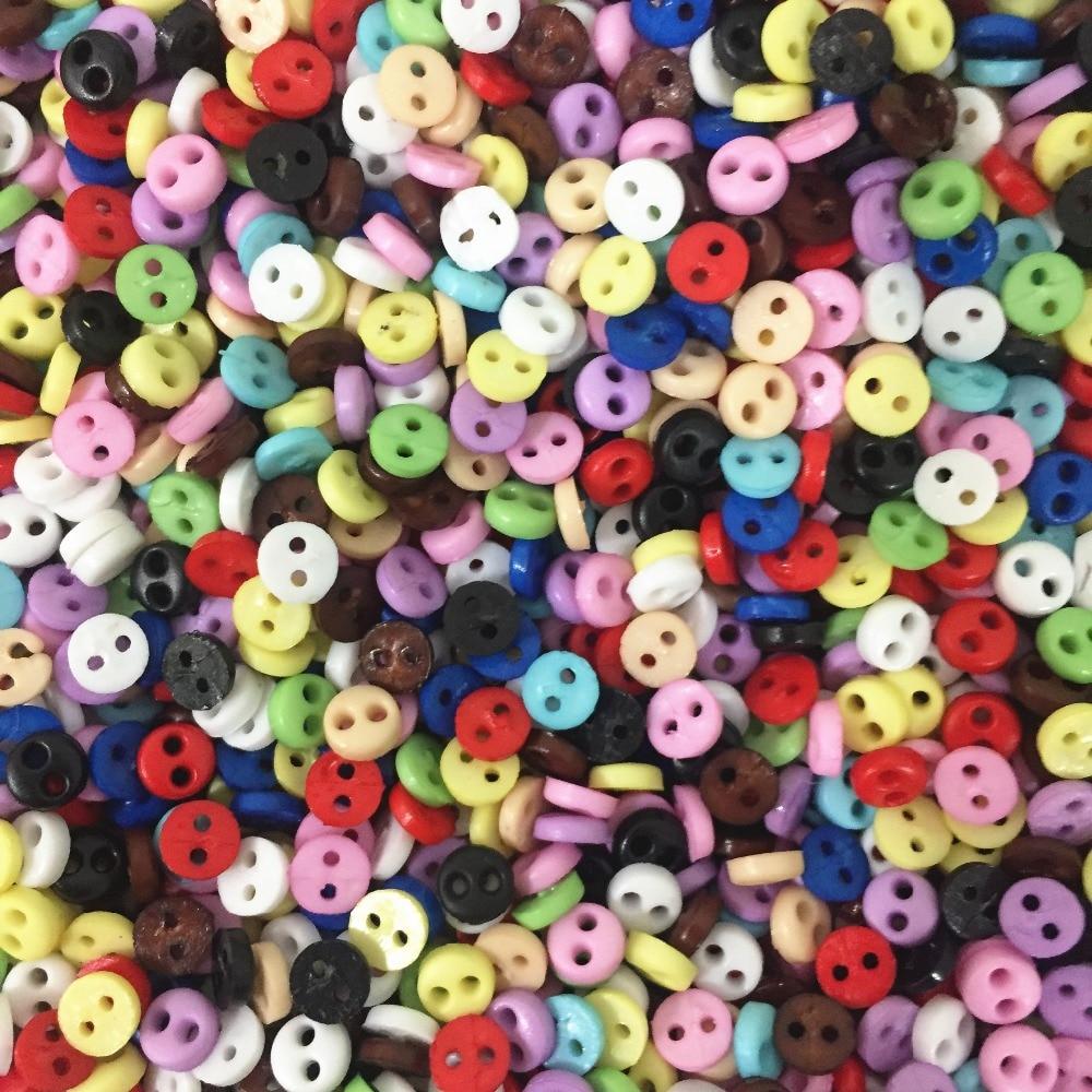 300pcs 4mm Mini Doll Clothing Button 2-Holes Flatback Button DIY Handmade Sewing