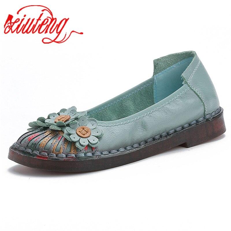 Xiuteng 2019 Summer Ladies Fashion Brand Women Shoes Elegant Comfort Woman's Casual OL Office Shoes Leisure Genuine Leather Shoe