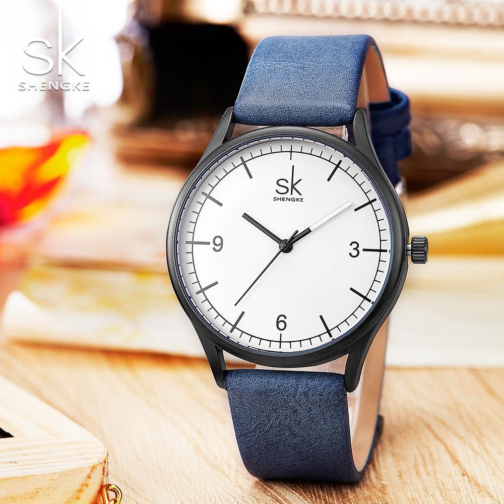 SK Watch Women Shengke Brand Elegant Retro Watches Fashion Ladies Quartz Watches Clock Women Casual Leather Women 39 s Wristwatches in Women 39 s Watches from Watches