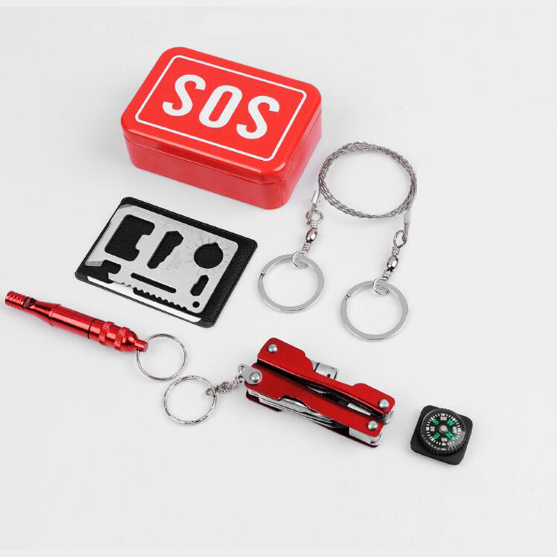 Outdoor Emergency SOS Tool Kit for Camp Hiking Survival Gear Tool Set Car Earthquake Emergency Equipment Box Case
